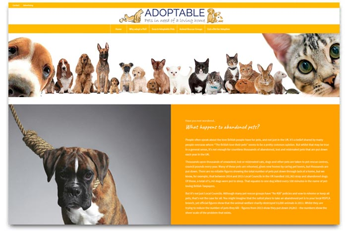 Adoptable - helping UK pet adoption